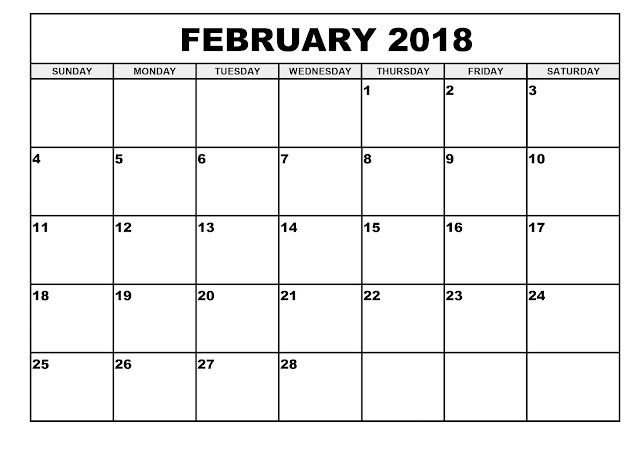 February 2018 Monthly Calendar Printable Templates