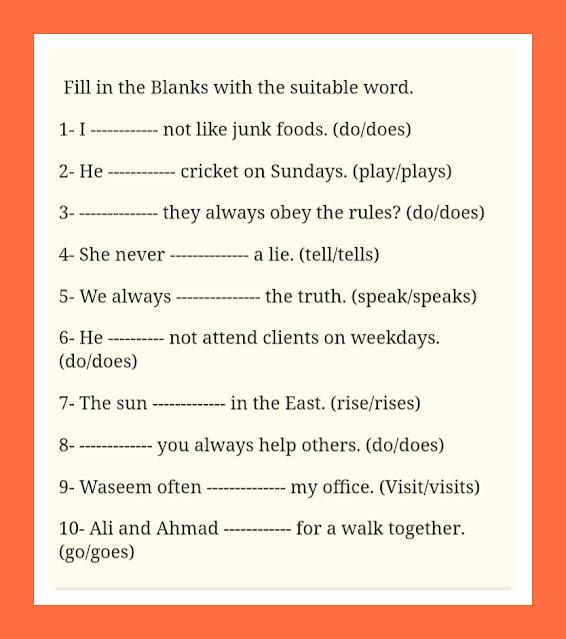 Worksheet Present Simple Tense