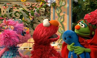 Elmo and Abby give octopus toy to Little Red Riding Hood as a present. Sesame Street Elmo and Abby's Birthday Fun