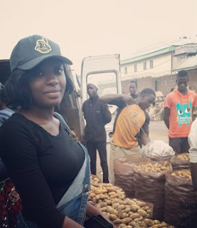 Photos: Meet Beautiful Nigerian Graduate Who Sells Potatoes At A Market In Plateau State