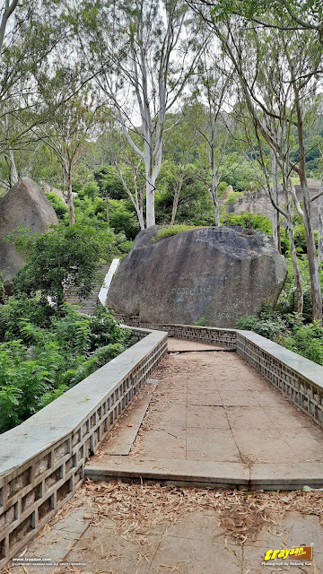 The steps leading to the higher mountain peak which as Shri Yoga Narasimhaswamy temple on it