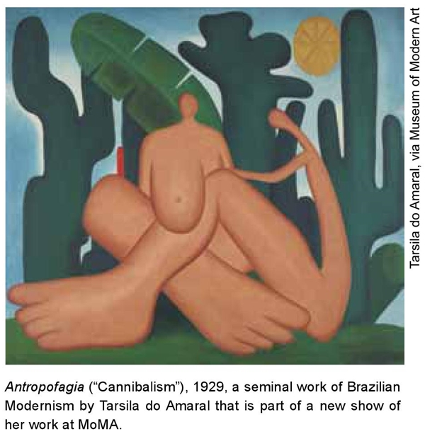 """Antropofagia (""""Cannibalism""""), 1929, a seminal work of Brazilian Modernism by Tarsila do Amaral that is part of a new show of her work at MoMA."""