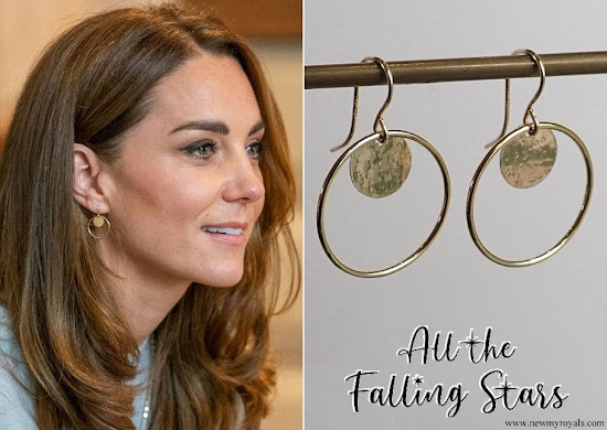Kate Middleton wore All the Falling Stars Gold Disc Circle Earrings