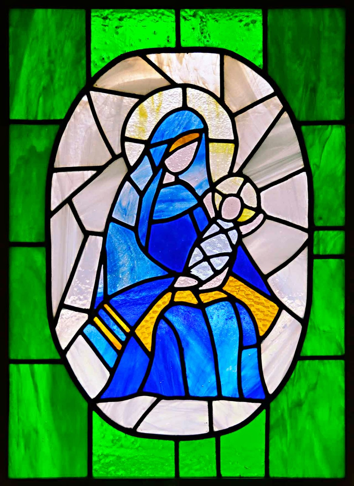 madonna and child stained glass window by Marion Grisa