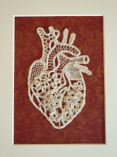 Anatomical heart lace artwork