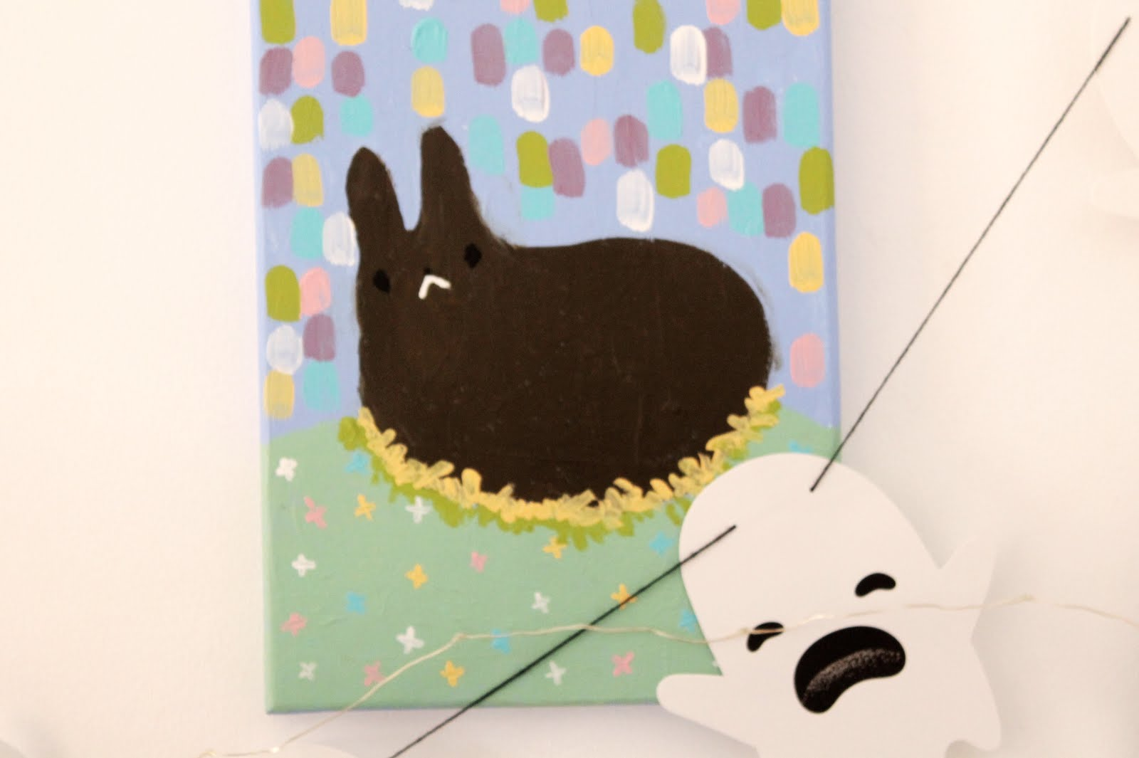 cuadro pintura acrilico conejo