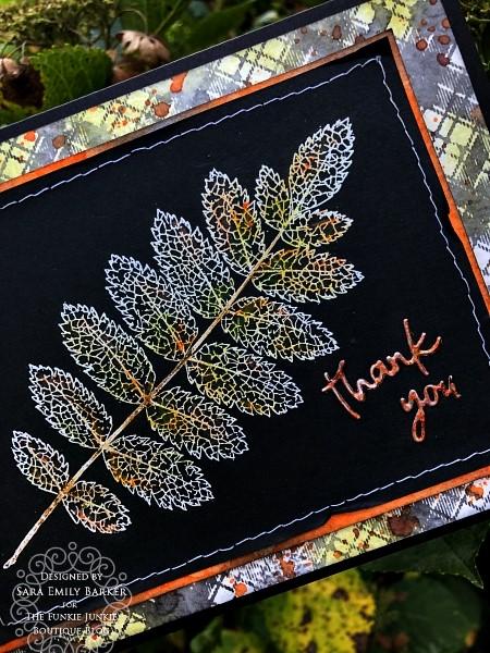 Sara Emilyl Barker https://sarascloset1.blogspot.com/2019/11/fabulous-fall-thank-you-card-for-funkie.html Tim Holtz Pressed Foliage Perfect Plaids Card 2