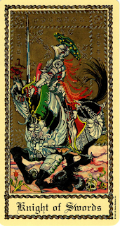 The Knight of Swords from the Medieval Scapini Tarot.