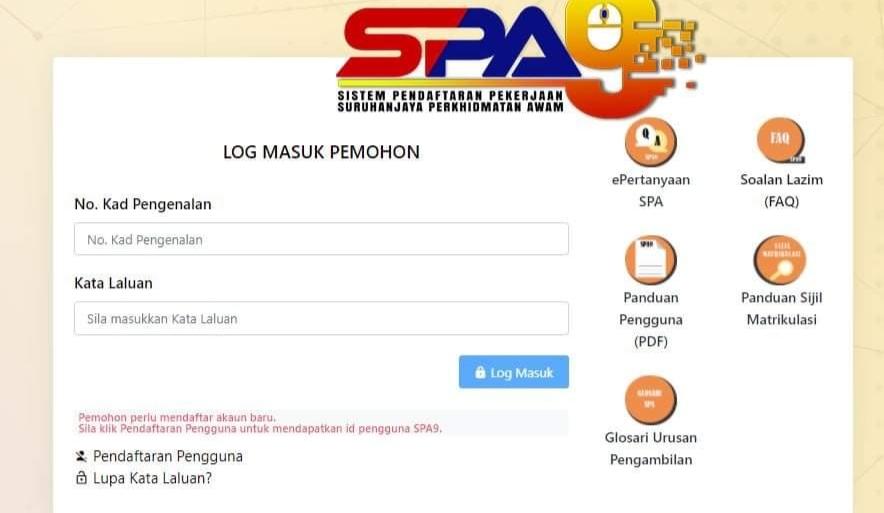 Cara Mengisi Borang Permohonan SPA9 2020 Online