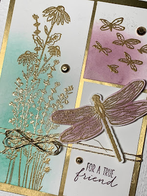 Close up of gold embossing on card using Stampin' Up! Dragonfly Garden Stamp Set