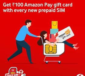 Order Vodafone Sim - Get ₹100 Free Amazon Gift Voucher