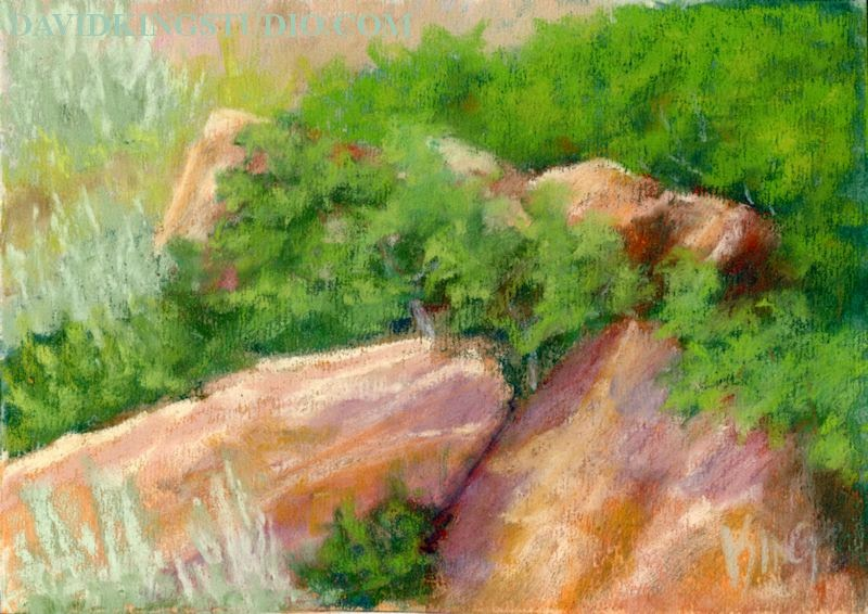 art painting plein air pastel red rock scrub oak