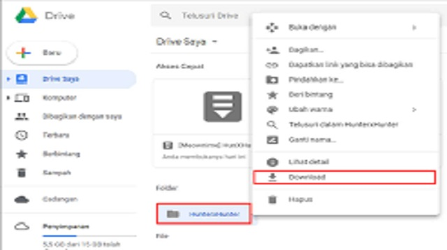 Cara Download Folder di Google Drive