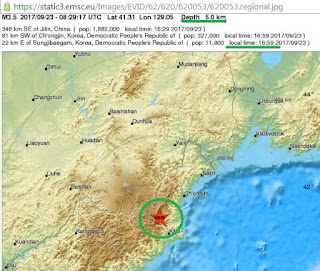 The tremor occurred at 5:29 p.m., some 20 kilometers southeast of the country's Punggye-ri nuclear test