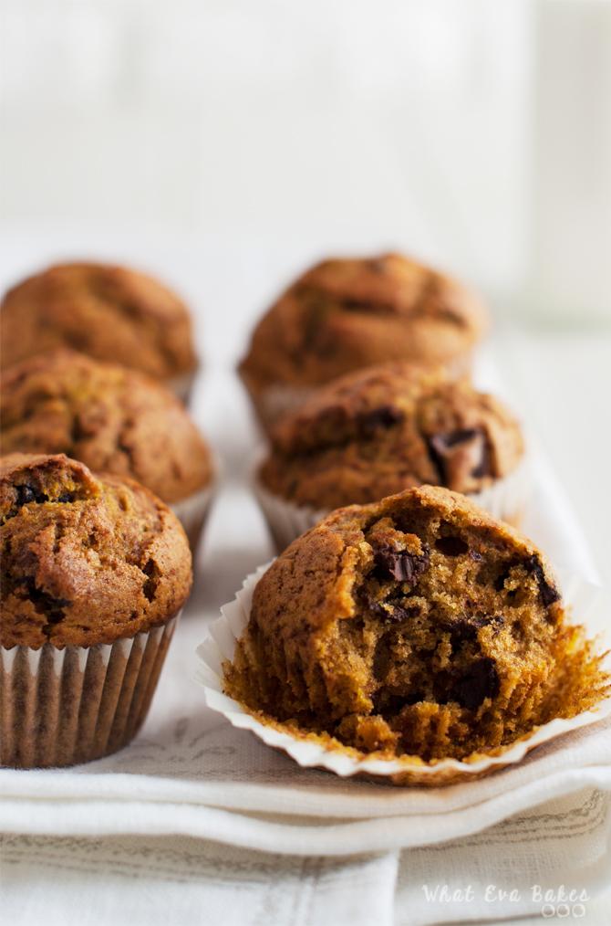 Muffins de calabaza con chips de chocolate