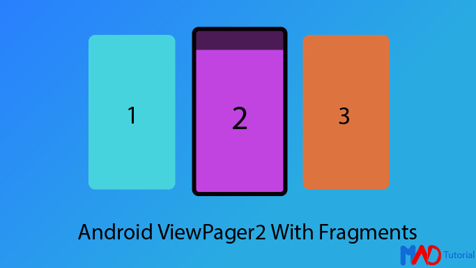 illustration of android viewpager2 fragment using kotlin tutorial example code