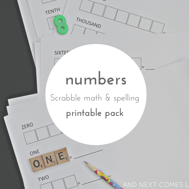 Numbers themed Scrabble math printable pack for kids to practice spelling and math from And Next Comes L