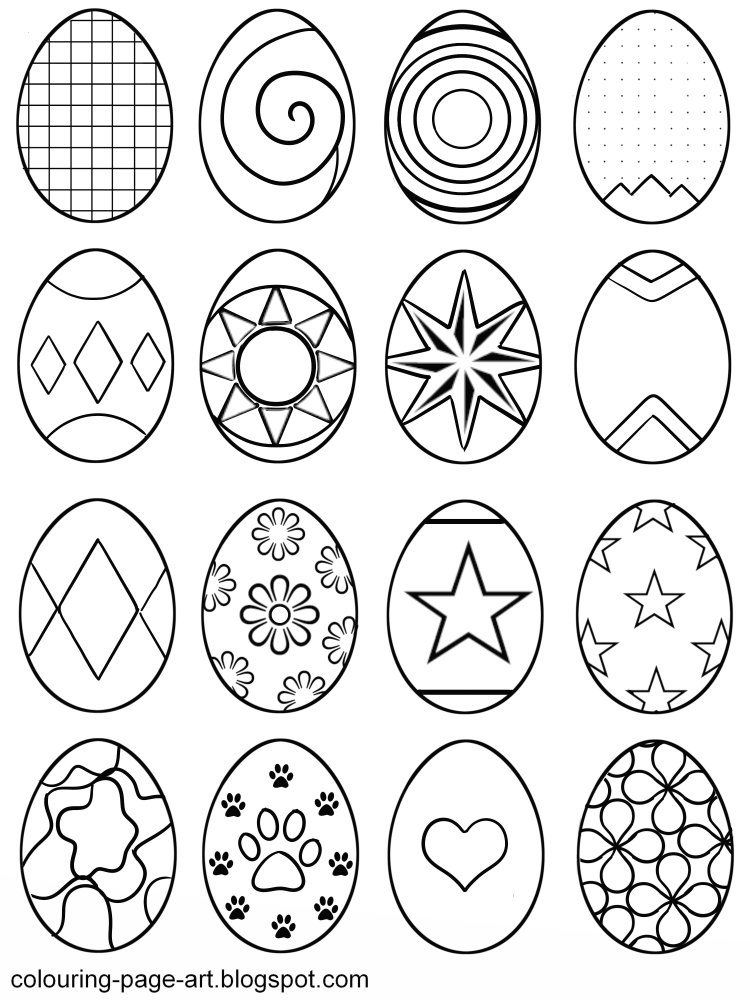 Multiple Hair Coloring: Colouring Page Art: Flower Power Easter Egg Colouring Page