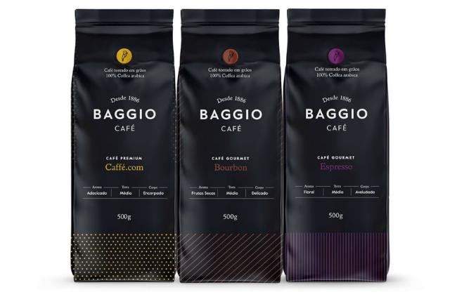 Cafés Baggio três tipos de diferentes