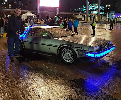 A Back to the Future DeLorean in Salford, Greater Manchester