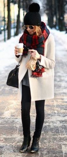 fashionable outfit idea : hat + plaid scarf + coat + black skinnies + bag + boots