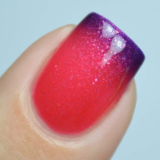 pink to purple thermal nail polish