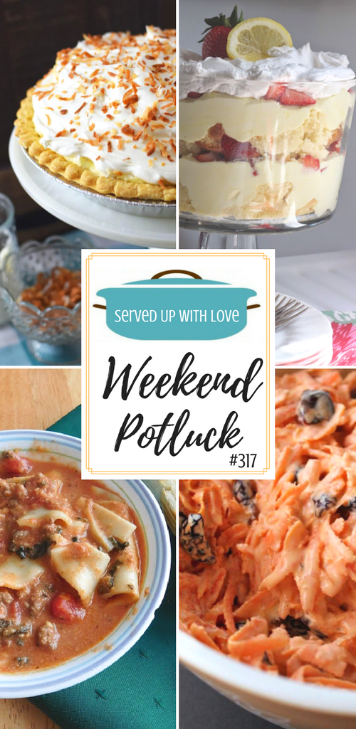 Everything you need to plan your Easter dinner is right here at Weekend Potluck. Recipes include Easy Coconut Cream Pie, Carrot Craisin Salad, Crock Pot Lasagna Soup, Grandma's Double Chocolate Fudge Cake, and Lemon-Berry Trifle.
