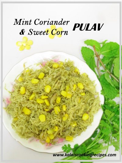 mint coriander sweetcorn pulav