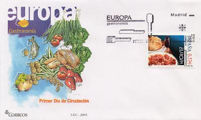 Filatelia, Correos, sobre, sello, matasellos, PDC, Europa, jamón, vino
