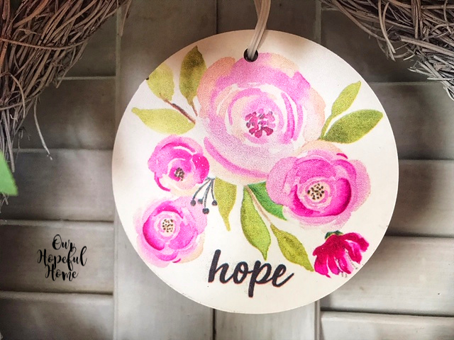 Dollar Tree hope MDF 4 inch round hope wreath charm