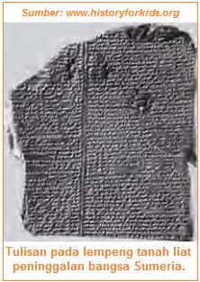 Tulisan pada lempeng tanah liat peninggalan bangsa Sumeria
