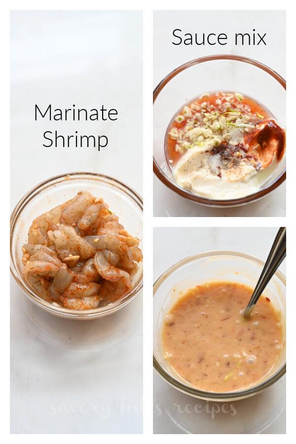 how to make bang bang shrimp taco - marinate shrimp and make bang bang sauce
