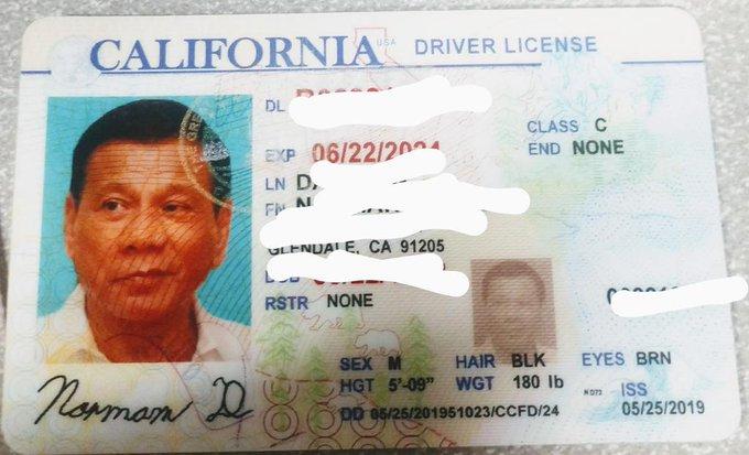 LA cops confiscate fake driver's license with Duterte photo