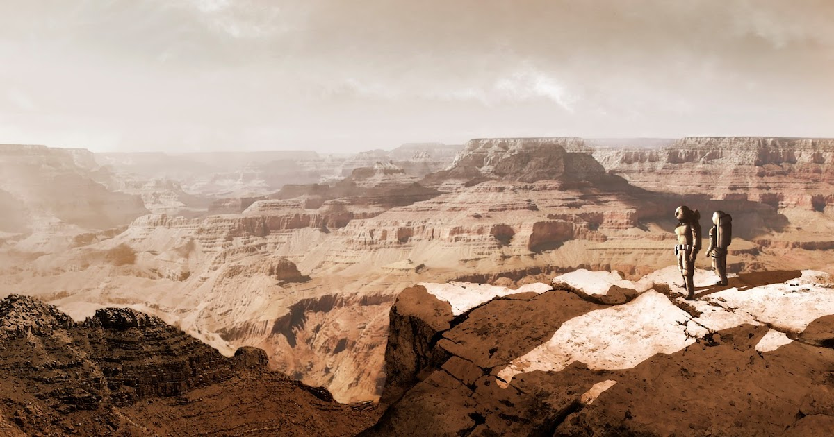 Astronauts exploring Martian canyon by Mark Garlick