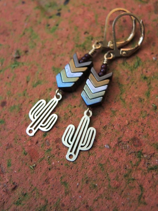 diy oorbellen/earrings 'cactus'