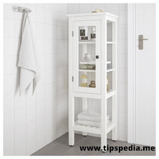 bathroom cabinet with glass doors