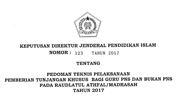 Juknis Pemberian Tunjangan Khusus Bagi Guru PNS dan Bukan PNS pada Raudlatul Athfal/Madrasah 2017