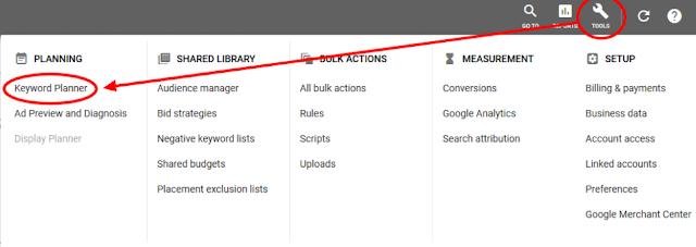 البحث عن الكلمة الرئيسية في Google AdWords