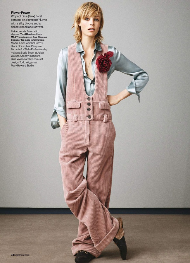 Chloé 2015 AW Smoked Pink Corduroy Overalls Editorials