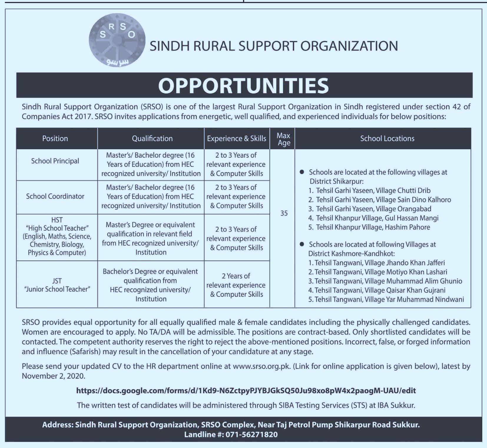 Sindh Rural Support Organization SRSO Job 2020 Advertisement in Pakistan