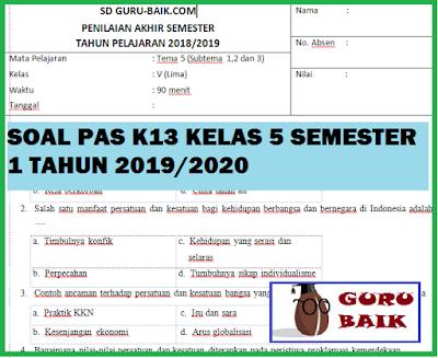 gambar Soal PAS / UAS K13 Kelas 5 Semester 1 Tahun 2019/2020