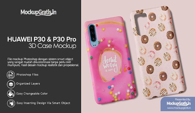 PSD Mockup Custom Case 3D Huawei P30 dan P30 Pro Gratis