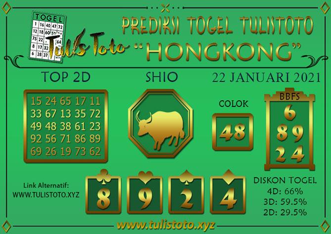 Prediksi Togel HONGKONG TULISTOTO 22 JANUARI 2021