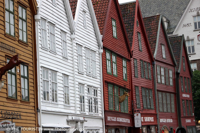 Colourful wooden house facades in UNESCO listed Bryggen in Bergen in Norway.