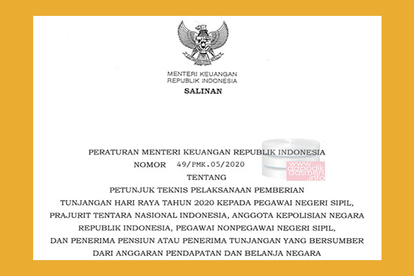Download PMK Nomor 49 Tahun 2020 Tentang Juknis Pemberian THR PNS, TNI, POLRI dan Pensiunan Tahun 2020, Petunjuk Tekhnis Pemberian THR untuk PNS dan Pensiunan