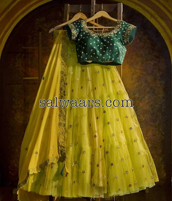 Bright Yellow and Green Long Lehenga