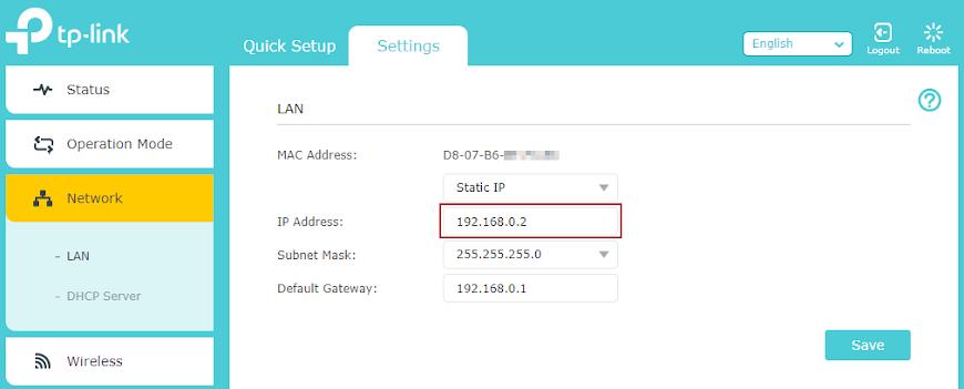 Setarea adresei IP a access-point-ului
