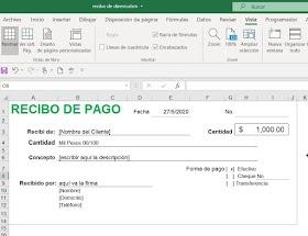 Formato De Recibo De Pago En Excel