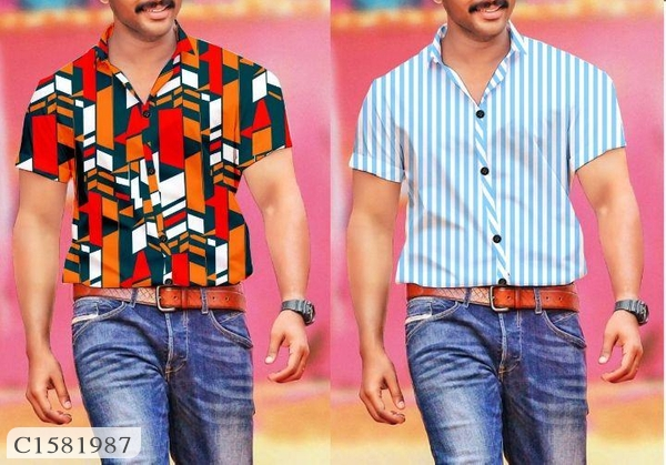 Mens Polyester Cotton Digital Print/Striped Half Sleeves Shirts Pack of 2 Online Shopping | Shirts For Men Online |