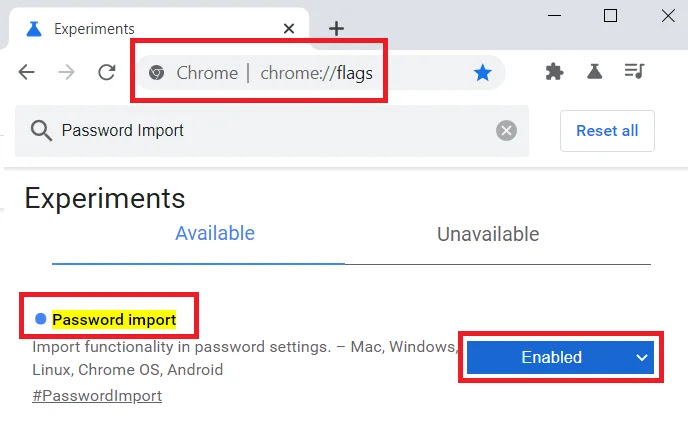 Password Import in Google Chrome Flags